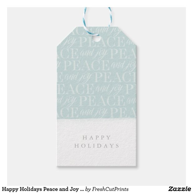 Happy Holidays Peace and Joy Christmas Gift Tag
