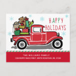 Happy Holidays Red Vintage Truck Moving Announcement Postcard