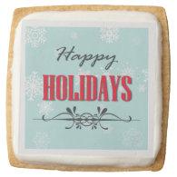 Happy Holidays Square Premium Shortbread Cookie