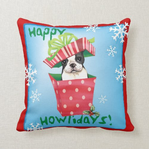 Happy Howliday Boston Terrier Throw Pillow