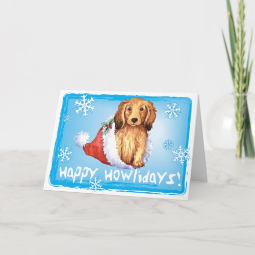Happy Howliday Longhaired Dachshund Holiday Card