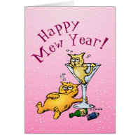Happy Mew Year Funny Cocktail Kitten Card