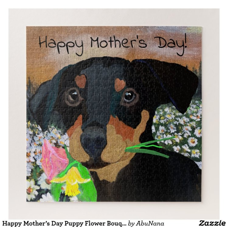 Happy Mother's Day Puppy Flower Bouquet Jigsaw Puzzle
