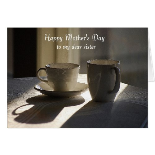 Happy Mother's Day to Sister Coffee Cups Greeting Card
