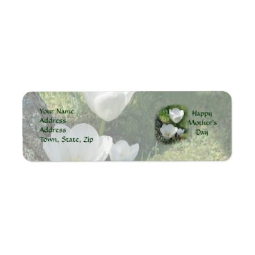 Happy Mother's Day White Tulips Label