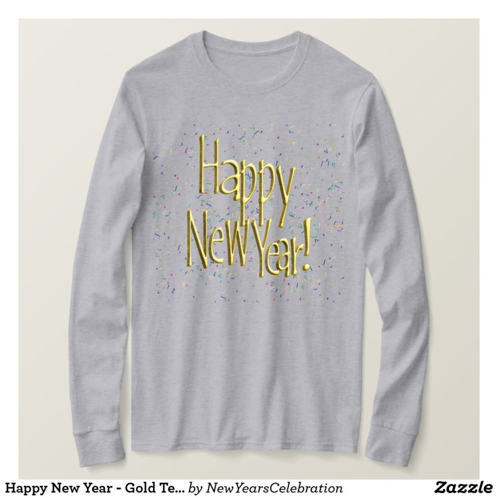Happy New Year - Gold Text on White Confetti T-Shirt