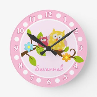 Happy Owls (Pink) Wall Clock - Add a Name