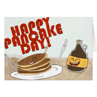 Happy Pancake Day! Cartoon design. Greeting Card
