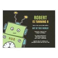 Happy Robot Boys Birthday Party Invitations