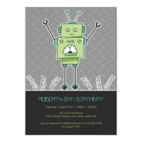 Happy Robot & Springs Kids Birthday Party Invites