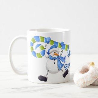 Happy Snowman Green and Blue Coffee Mug