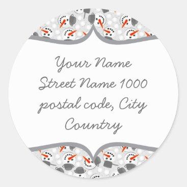happy snowmans on grey address label