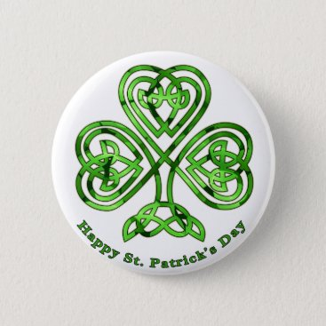 Happy St. Patrick's Day Trinity Clover Button