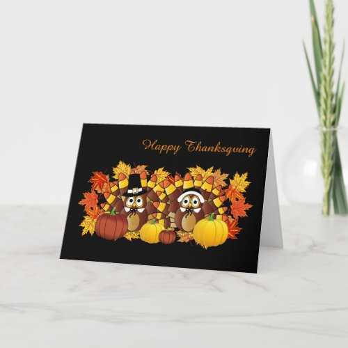 Happy Thanksgiving Owls Holiday Card