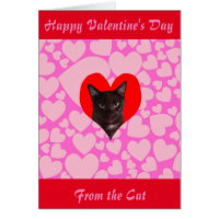 Happy Valentine's Day From The Cat (Black Cat) Card