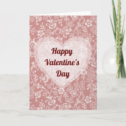 Happy Valentine's Day - Mauve Pink Rose Flowers Card
