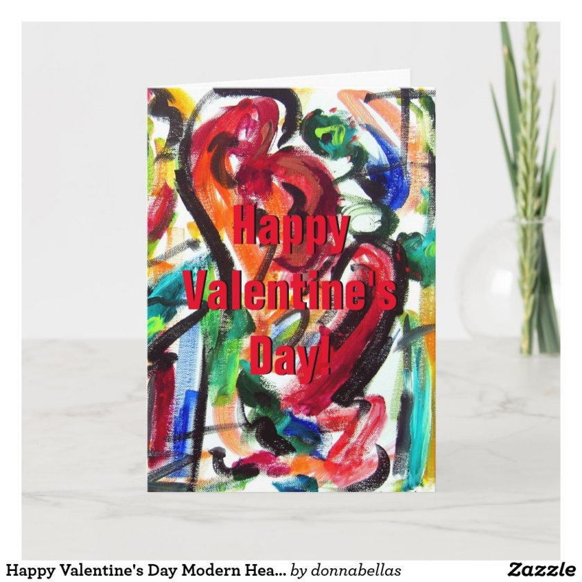 Happy Valentine's Day Modern Hearts Greeting Cards