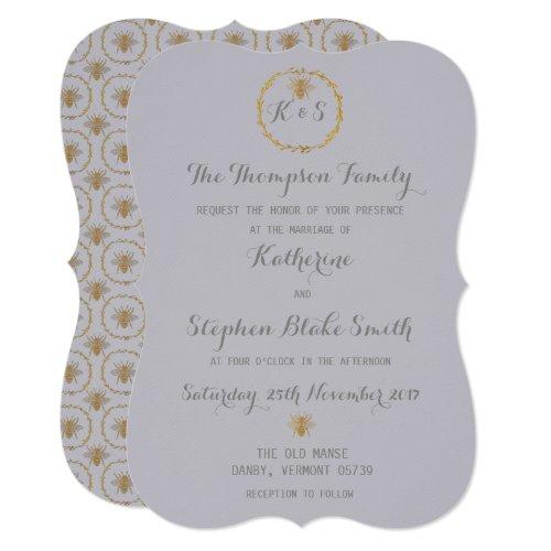 Harbor Mist Grey Gold Foil Golden Bees Wedding Invitation