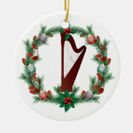 Harp Music Christmas Wreath Ornament Gift