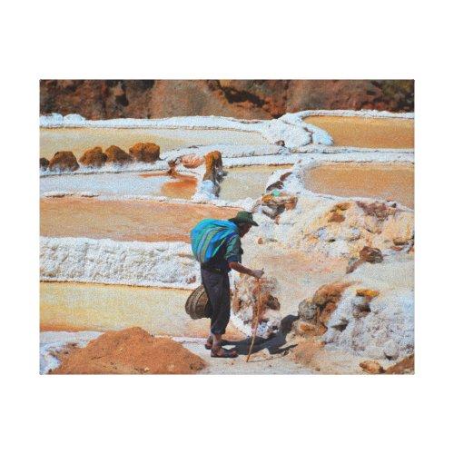 Harvesting Salt in Maras, Peru Gallery Wrap Canvas