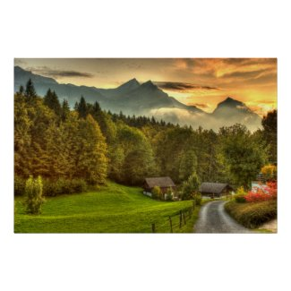 Hasliberg Switzerland sunset and Swiss mountains Poster