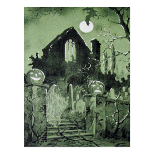 Haunted House Jack O Lantern Ghost Bat Postcard
