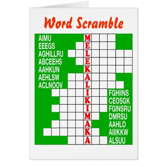 Hawaii Christmas Word Scramble Card