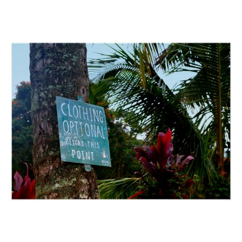 "Hawaii ""Clothing Optional"" Sign Poster"