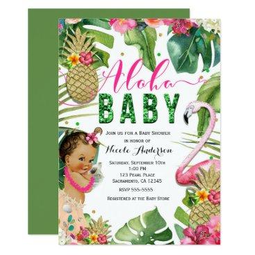 Hawaiian Aloha Tropical Baby Girl Vintage Shower Card