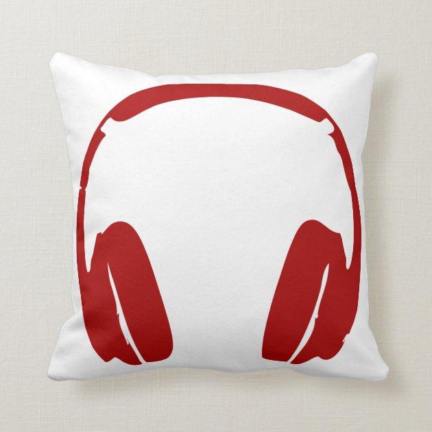 Headphones Throw Pillow Dark Red  Zazzle