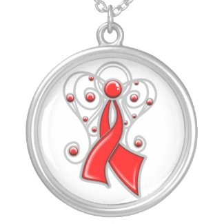 Heart Disease Ribbon Angel In Memory necklace