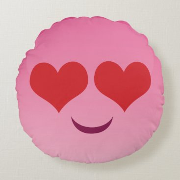 Heart eyes pink emoji round pillow