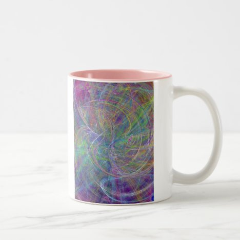 Heart of Light – Aqua Flames & Indigo Swirls Two-Tone Coffee Mug