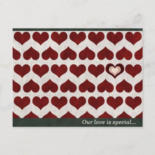 Heart Pattern Valentine Postcard postcard