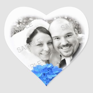 Heart Shaped Photo & Hydrangea Wedding Sticker sticker