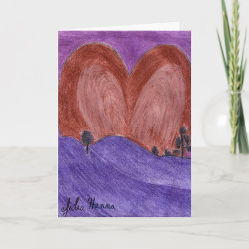 Heart Sunset Valentine's Day Card by Julia Hanna card