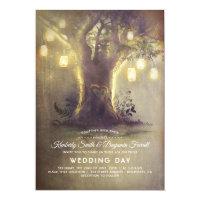 Heart Tree Mason Jar Lights Rustic Country Wedding Card