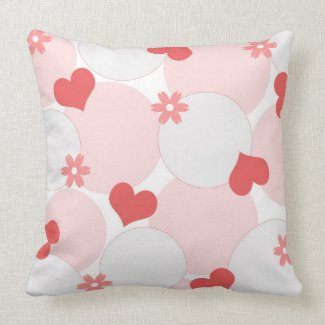 Hearts and flowers throwpillow