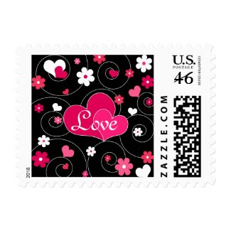Hearts and flowers stamp