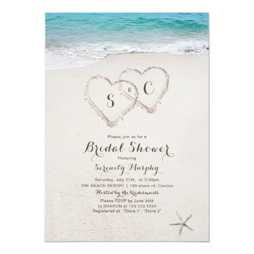 Hearts in the sand beach bridal shower invitation