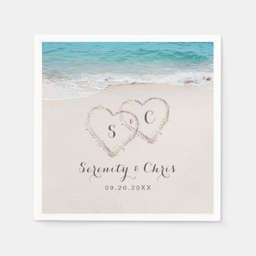 Hearts in the sand destination beach wedding napkin