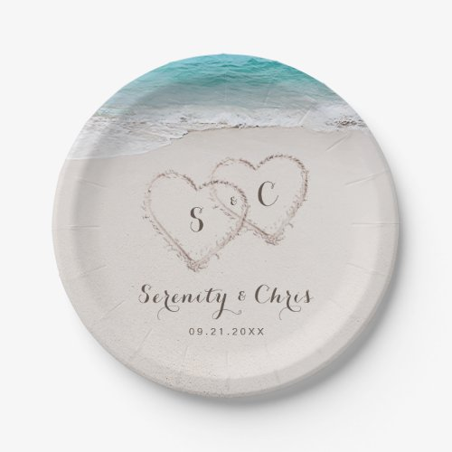 Hearts in the sand destination beach wedding paper plate