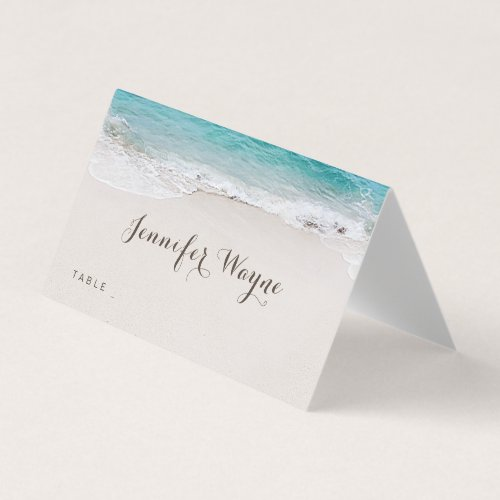 Hearts in the sand destination beach wedding place card