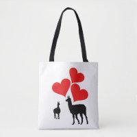 Hearts & Llamas Tote Bag
