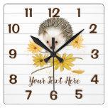 Hedgehog Floral  Decor Wall Clocks