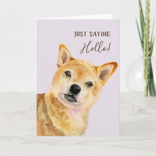 Hello! | Cute Shiba Inu Dog Watercolor Painting Card