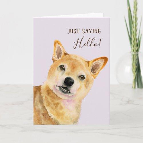 Hello! | Cute Shiba Inu Dog Watercolor Painting Card