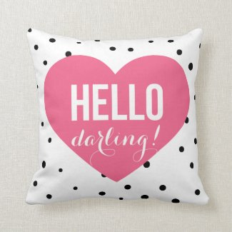 Hello Darling Heart | Polka Dots Pillow