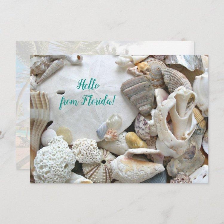 Hello From Florida Custom Beach Shells Flat Card
