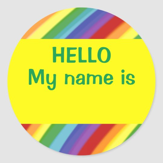 Hello My Name Is Rainbow Nametag Stickers Gay Kids Zazzle Com